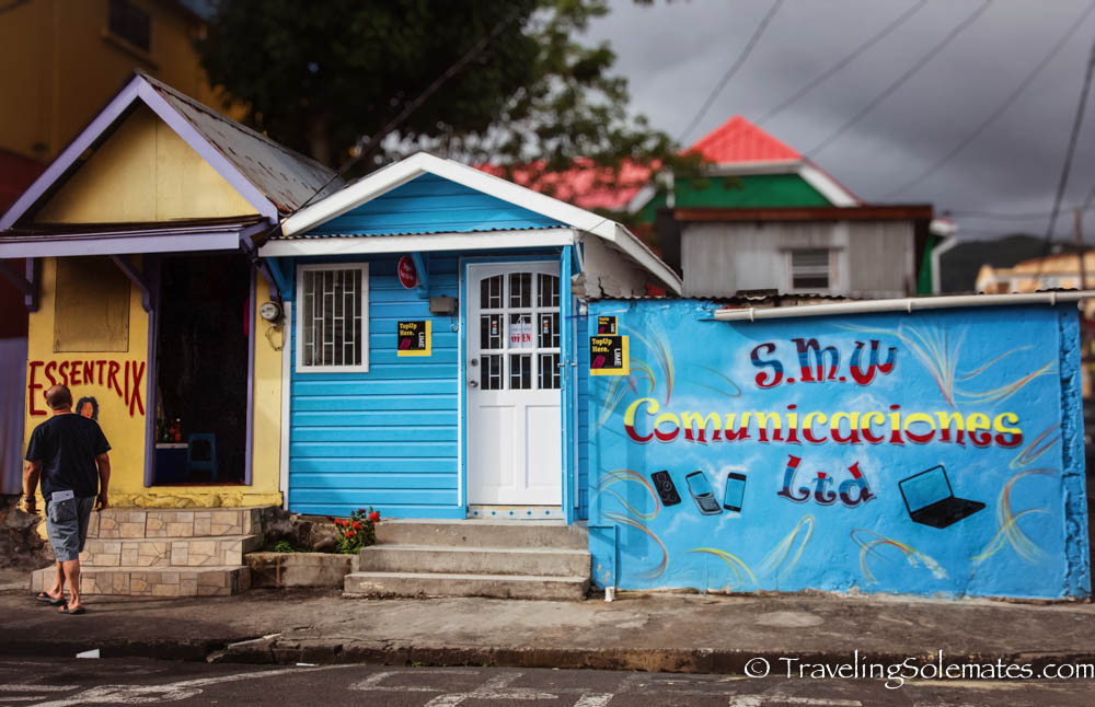 Colorful Shops in Roseau,  the capital of Dominica