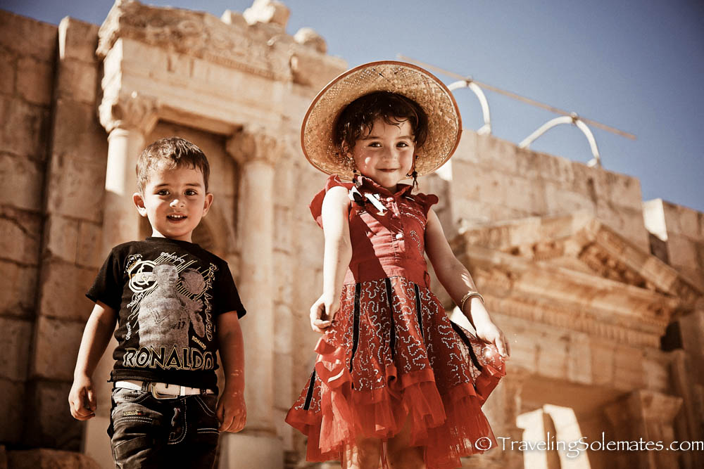 \Children in South Theater, Jerash, Jordan