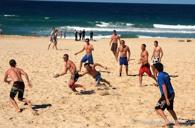 Football game in Bondi Beach, Sydney, Australia.